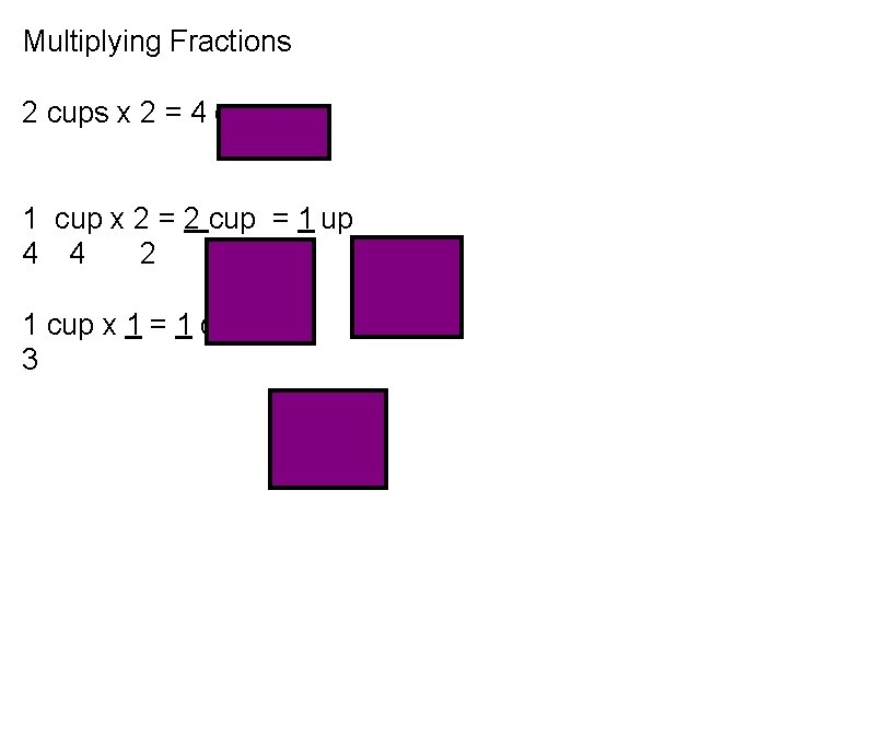 Multiplying Fractions 2 cups x 2 = 4 cups 1 cup x 2 =