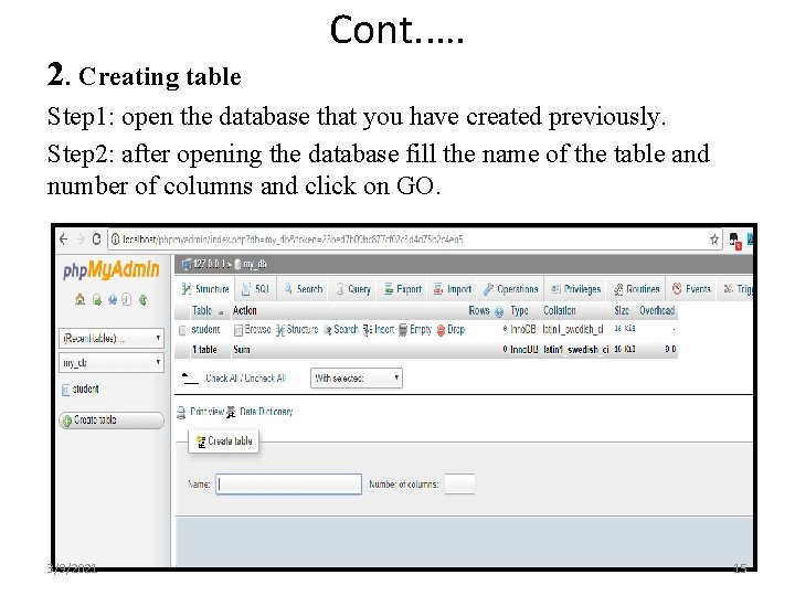 2. Creating table Cont. …. Step 1: open the database that you have created