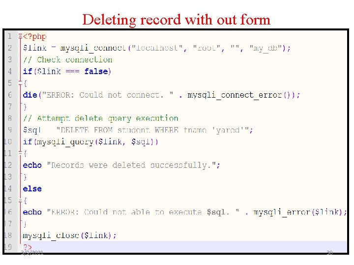 Deleting record with out form 3/9/2021 30
