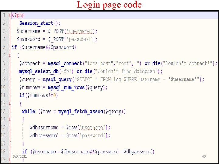 Login page code 3/9/2021 40