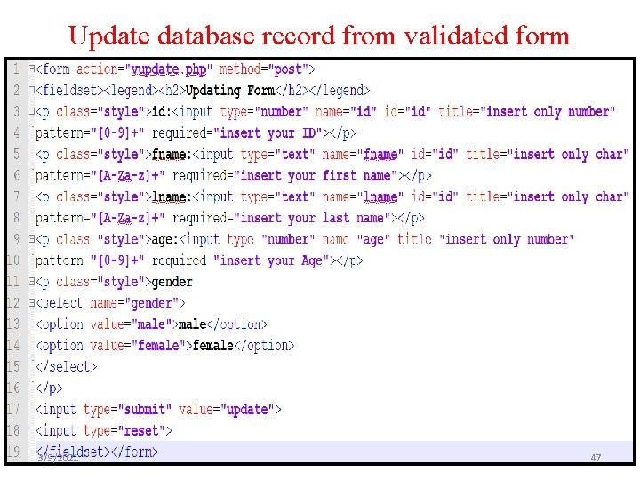 Update database record from validated form 3/9/2021 47