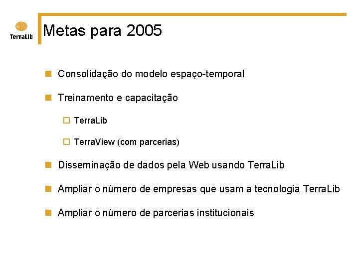 Metas para 2005 n Consolidação do modelo espaço-temporal n Treinamento e capacitação ¨ Terra.