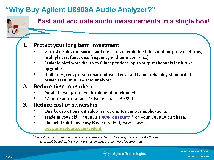 """""""Why Buy Agilent U 8903 A Audio Analyzer? """" Fast and accurate audio measurements"""