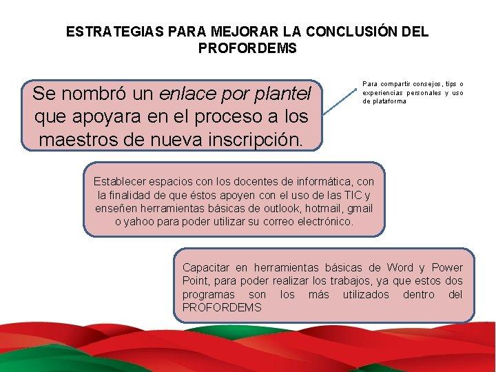 ESTRATEGIAS PARA MEJORAR LA CONCLUSIÓN DEL PROFORDEMS Se nombró un enlace por plantel que
