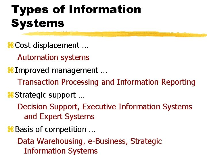 Types of Information Systems z Cost displacement … Automation systems z Improved management …