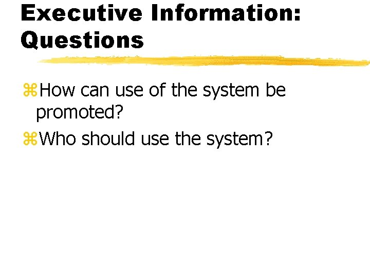 Executive Information: Questions z. How can use of the system be promoted? z. Who