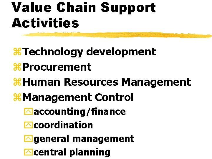 Value Chain Support Activities z. Technology development z. Procurement z. Human Resources Management z.