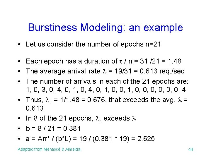 Burstiness Modeling: an example • Let us consider the number of epochs n=21 •