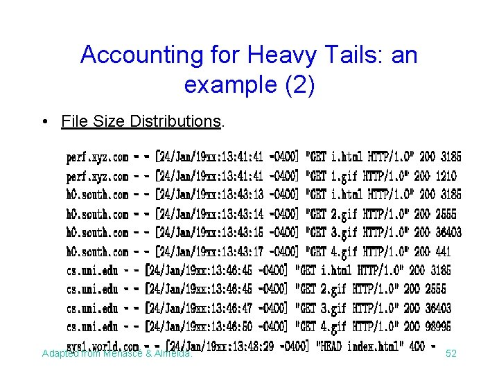 Accounting for Heavy Tails: an example (2) • File Size Distributions. Adapted from Menascé