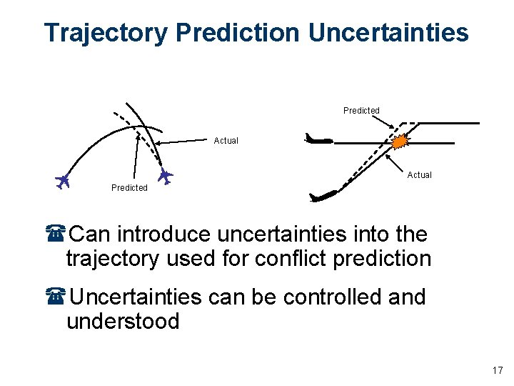 Trajectory Prediction Uncertainties Predicted Actual Predicted (Can introduce uncertainties into the trajectory used for