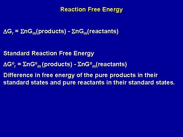Reaction Free Energy DGr = Sn. Gm(products) - Sn. Gm(reactants) Standard Reaction Free Energy