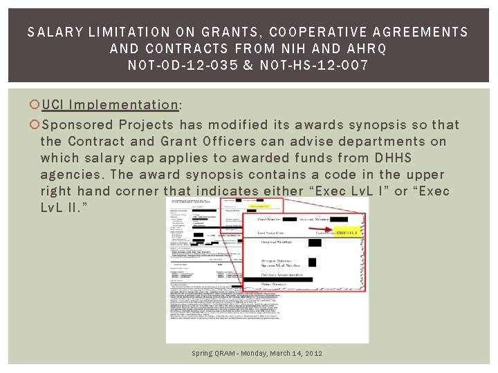 S ALARY LIMITATION ON GRANTS, COOPERATIVE A GR EEMENTS AND CONTRACTS FROM NIH AND