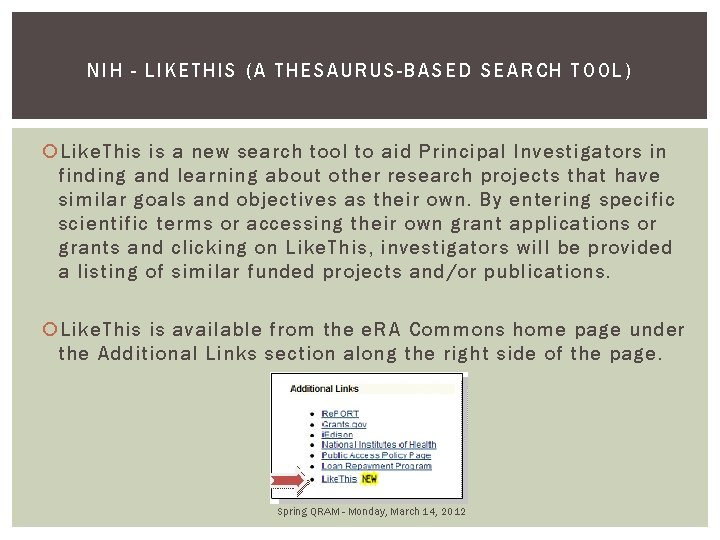 NIH - LIKETHIS (A THESAURUS-BASED SEA RCH TO OL ) Like. This is a