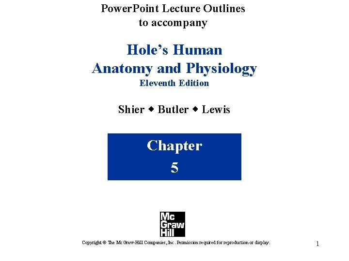 Power. Point Lecture Outlines to accompany Hole's Human Anatomy and Physiology Eleventh Edition Shier
