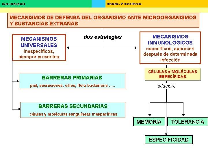 Biología. 2º Bachillerato INMUNOLOGÍA MECANISMOS DE DEFENSA DEL ORGANISMO ANTE MICROORGANISMOS Y SUSTANCIAS EXTRAÑAS