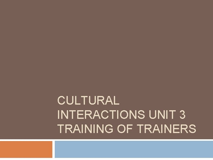 CULTURAL INTERACTIONS UNIT 3 TRAINING OF TRAINERS