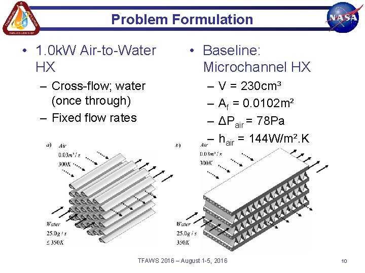 Problem Formulation • 1. 0 k. W Air-to-Water HX – Cross-flow; water (once through)