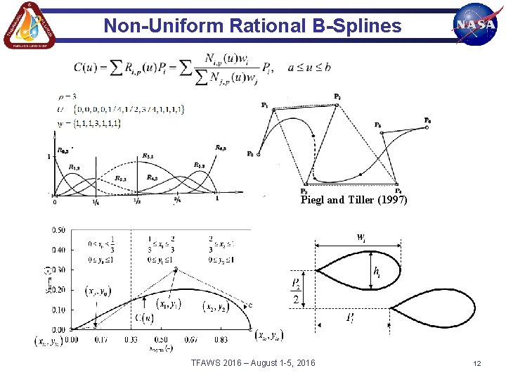 Non-Uniform Rational B-Splines Piegl and Tiller (1997) TFAWS 2016 – August 1 -5, 2016