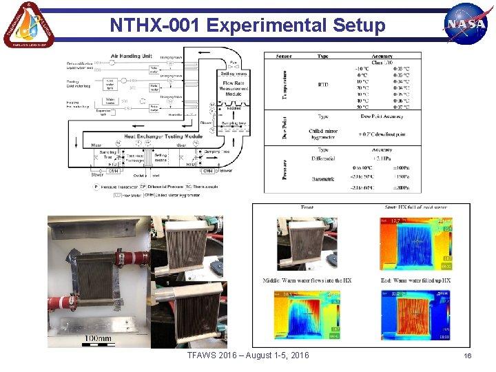 NTHX-001 Experimental Setup TFAWS 2016 – August 1 -5, 2016 16