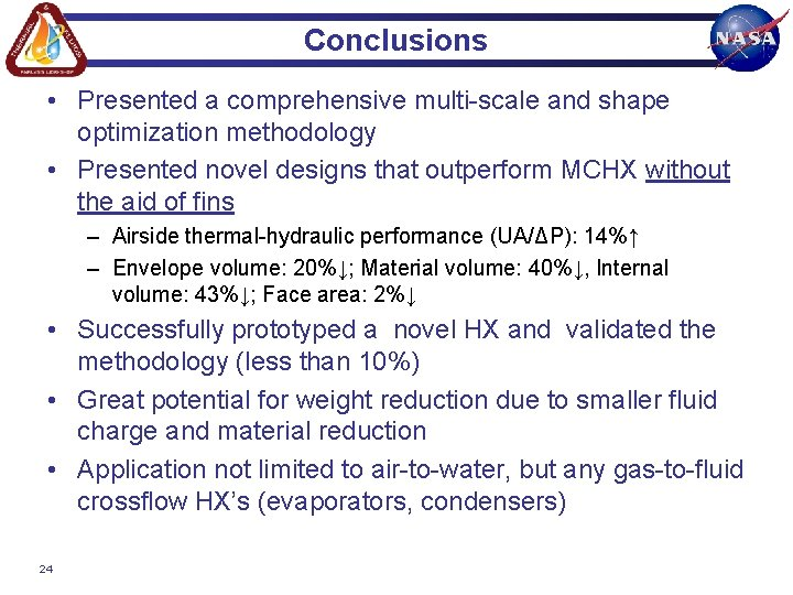 Conclusions • Presented a comprehensive multi-scale and shape optimization methodology • Presented novel designs