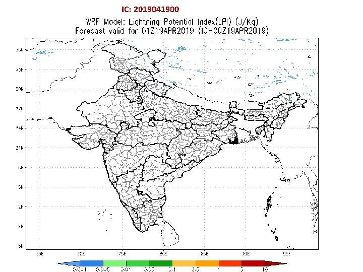 IC: 2019041900 Hourly evolution of IMD: WRF (3 km) Derived : Lightning Potential Index