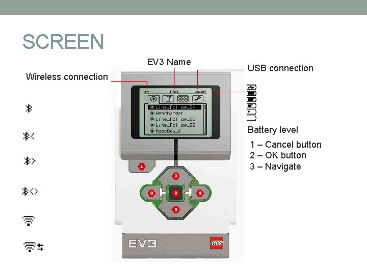 SCREEN EV 3 Name Wireless connection USB connection Battery level 1 – Cancel button