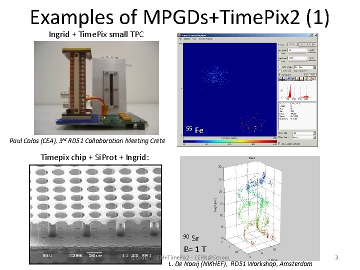 Examples of MPGDs+Time. Pix 2 (1) Ingrid + Time. Pix small TPC 55 Fe