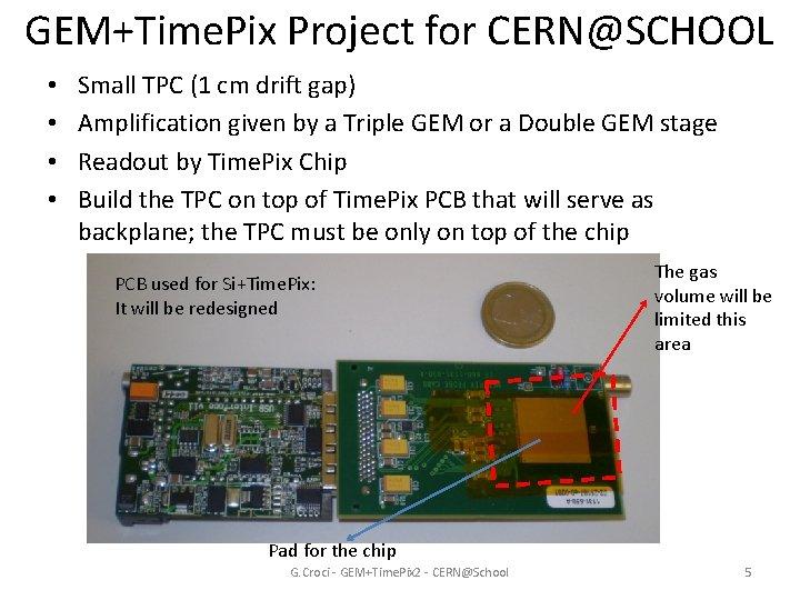GEM+Time. Pix Project for CERN@SCHOOL • • Small TPC (1 cm drift gap) Amplification