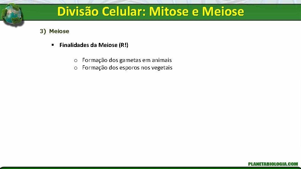 Divisão Celular: Mitose e Meiose 3) Meiose § Finalidades da Meiose (R!) o Formação