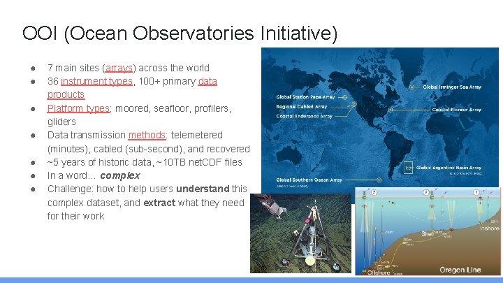 OOI (Ocean Observatories Initiative) ● ● ● ● 7 main sites (arrays) across the