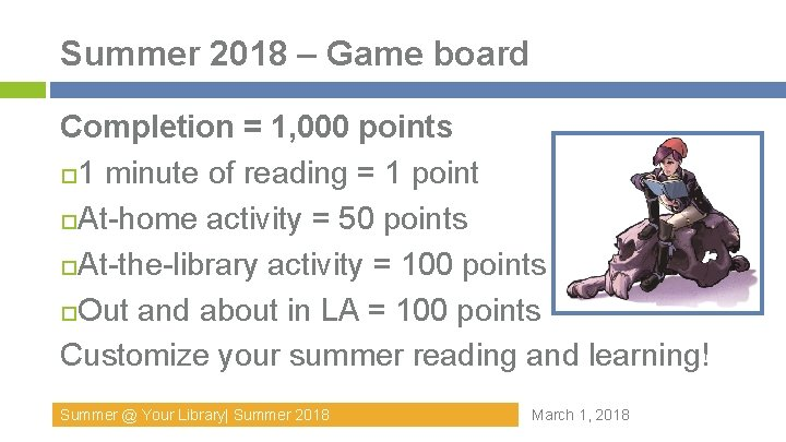 Summer 2018 – Game board Completion = 1, 000 points 1 minute of reading