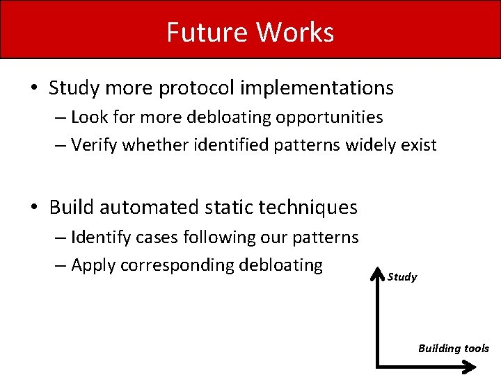 Future Works • Study more protocol implementations – Look for more debloating opportunities –