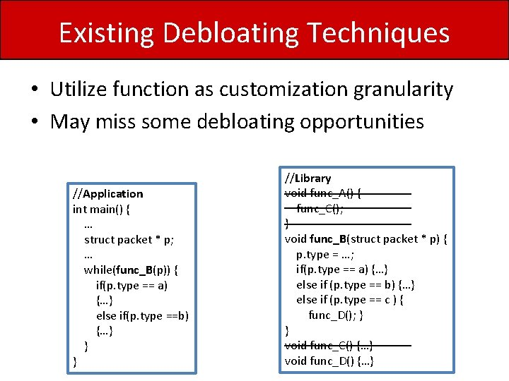 Existing Debloating Techniques • Utilize function as customization granularity • May miss some debloating