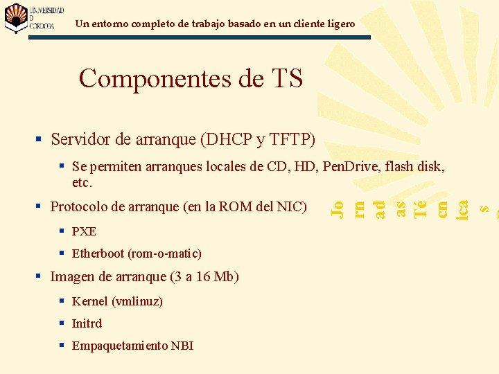 Un entorno completo de trabajo basado en un cliente ligero Componentes de TS §