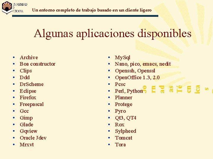 Un entorno completo de trabajo basado en un cliente ligero Algunas aplicaciones disponibles Archive