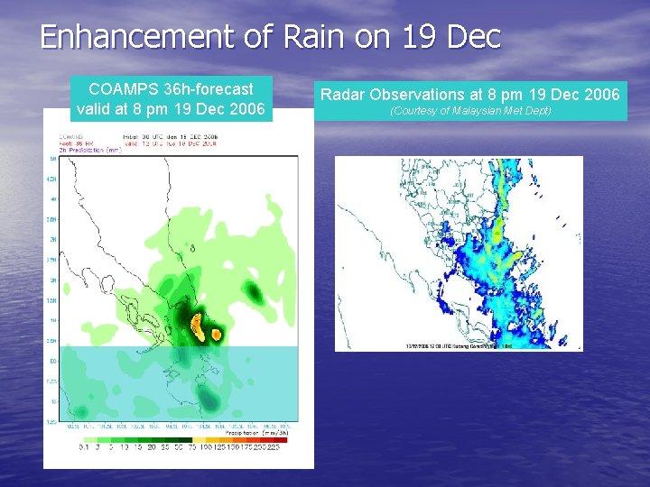 Enhancement of Rain on 19 Dec COAMPS 36 h-forecast valid at 8 pm 19