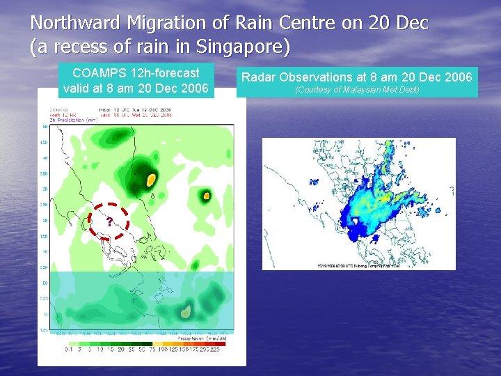 Northward Migration of Rain Centre on 20 Dec (a recess of rain in Singapore)