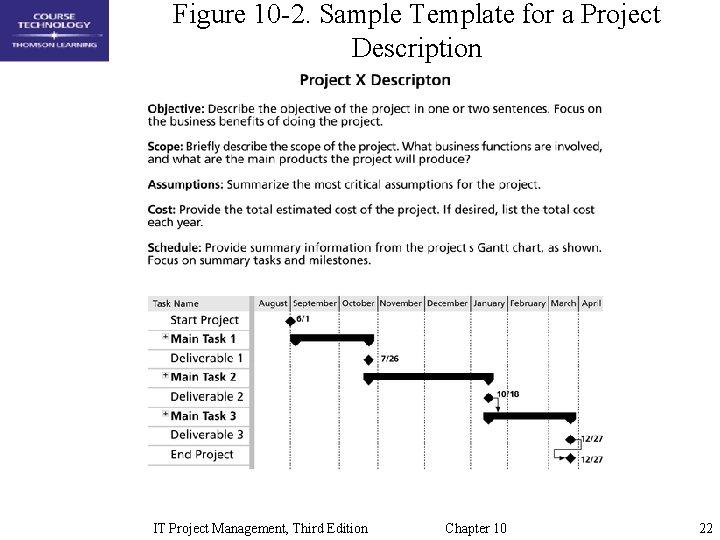 Figure 10 -2. Sample Template for a Project Description IT Project Management, Third Edition
