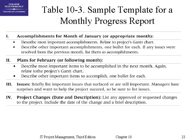 Table 10 -3. Sample Template for a Monthly Progress Report IT Project Management, Third