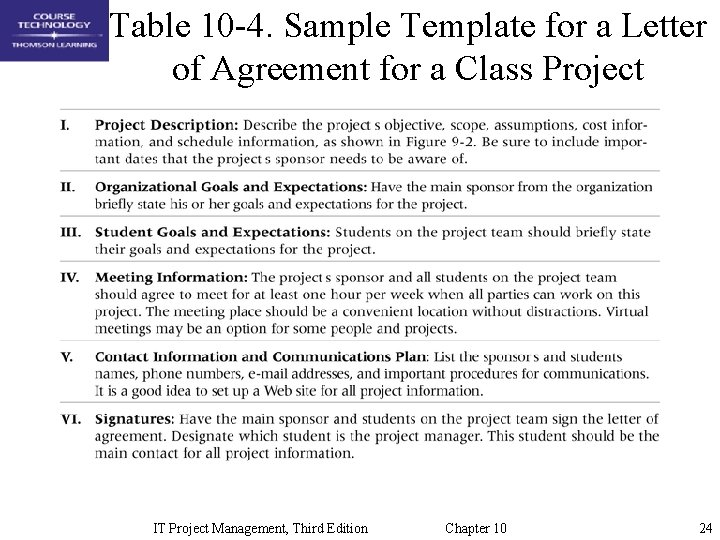 Table 10 -4. Sample Template for a Letter of Agreement for a Class Project