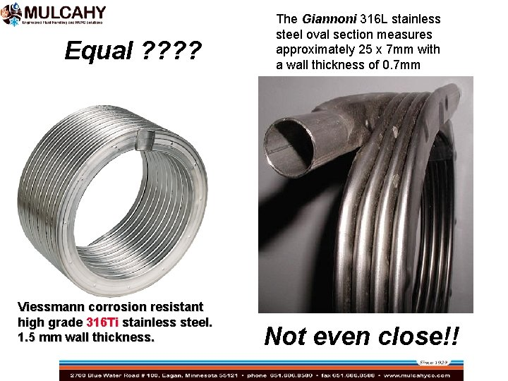 Equal ? ? Viessmann corrosion resistant high grade 316 Ti stainless steel. 1. 5