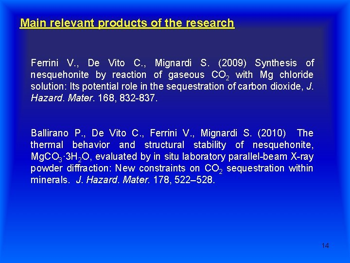 Main relevant products of the research Ferrini V. , De Vito C. , Mignardi