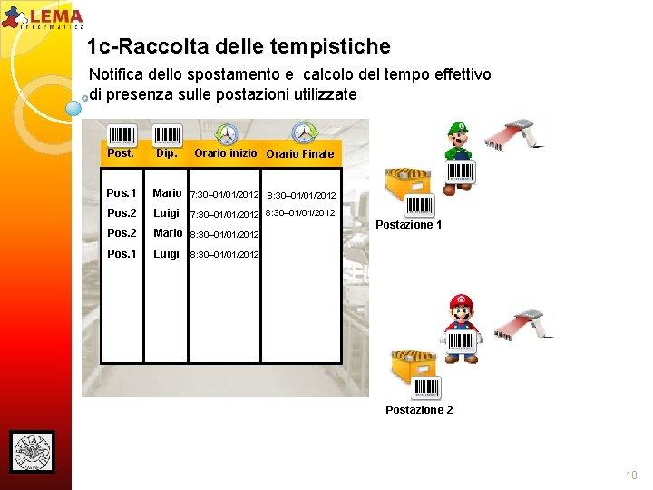1 c-Raccolta delle tempistiche Notifica dello spostamento e calcolo del tempo effettivo di presenza