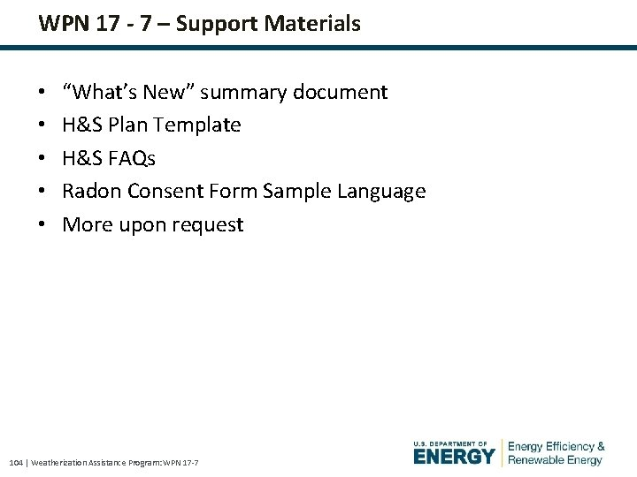 """WPN 17 - 7 – Support Materials • • • """"What's New"""" summary document"""