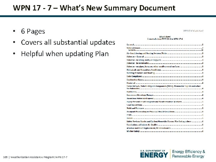 WPN 17 - 7 – What's New Summary Document • 6 Pages • Covers