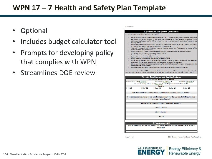 WPN 17 – 7 Health and Safety Plan Template • Optional • Includes budget