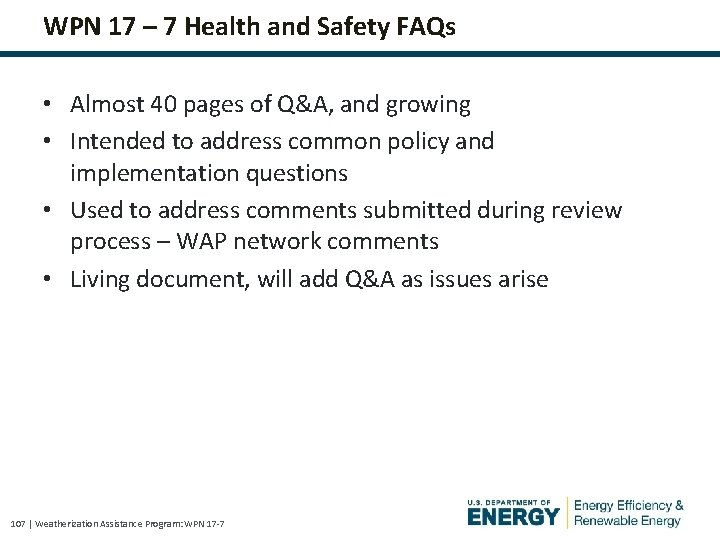 WPN 17 – 7 Health and Safety FAQs • Almost 40 pages of Q&A,