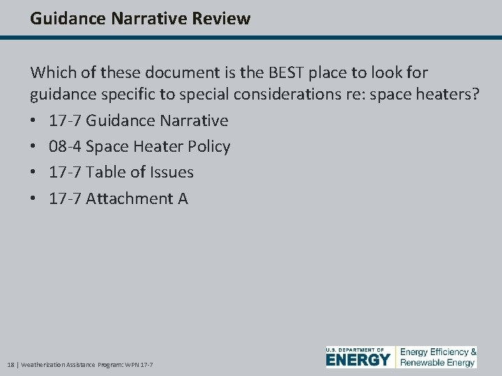 Guidance Narrative Review Which of these document is the BEST place to look for