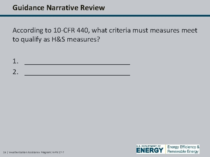 Guidance Narrative Review According to 10 -CFR 440, what criteria must measures meet to