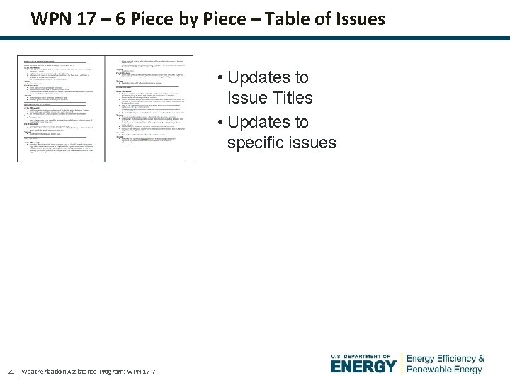 WPN 17 – 6 Piece by Piece – Table of Issues • Updates to